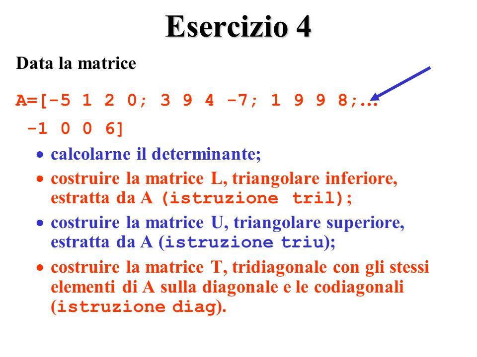 Esercizio 4 Data la matrice A=[-5 1 2 0; 3 9 4 -7; 1 9 9 8;… -1 0 0 6]